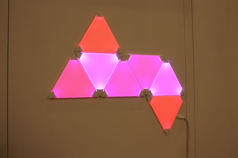 Last year we were quite take with NanoLeaf's funky lightbulb. This year, the company unveiled these LED light panels that can be combined into any design, and controlled from an app, changing the colors manually or automatically. This would be especially fun for a kids room...or our own living room!