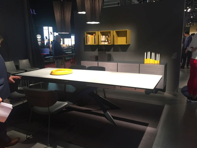 Large dining table with a metalic base
