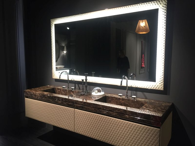 Leather and marble the perfect mix for bathroom