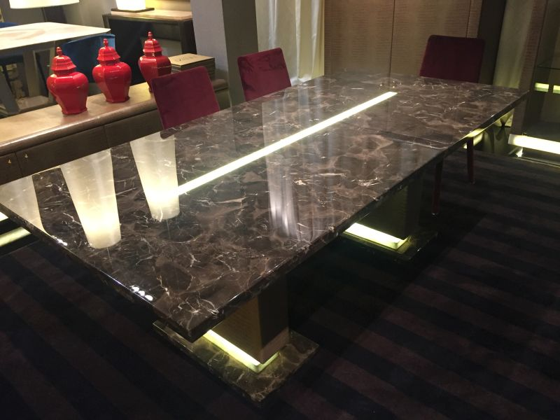 lenzi black marble dining table with led light - Marble Dining Room Decorating