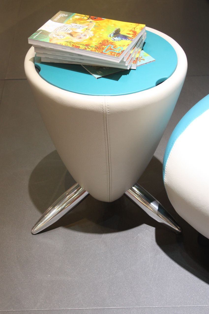 The Tam-Tam Hollow side table by Leolux is just plain fun. A little futuristic, the leather-upholstered side table has a removable top so that you can stash things inside. The top comes in a variety of lacquer colors and the legs are made from polished aluminium. It's also available as a footstool, called Bongo.