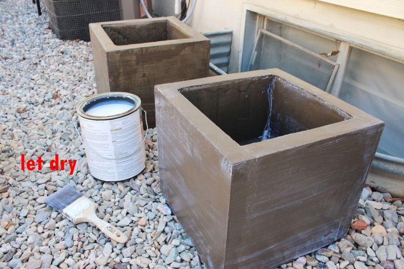 Let the concrete planters dry