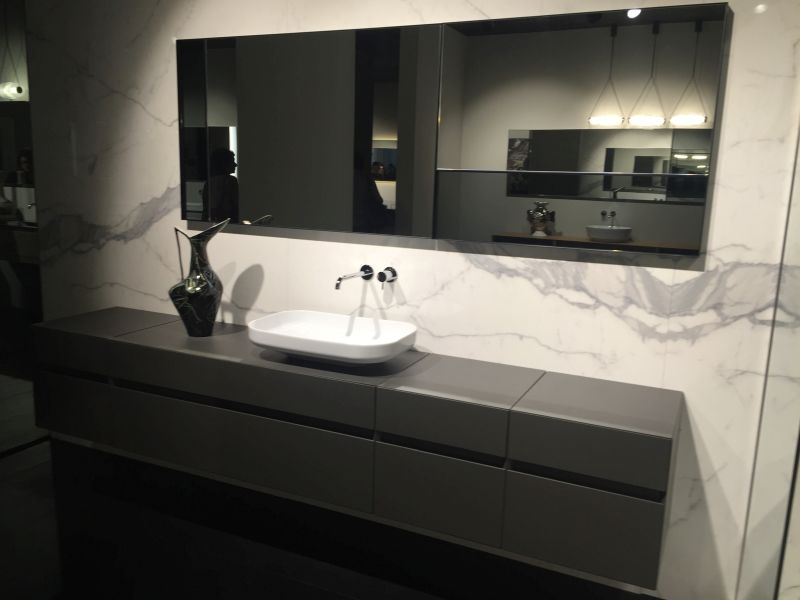 Marble bathroom wall with LED mirror on wall