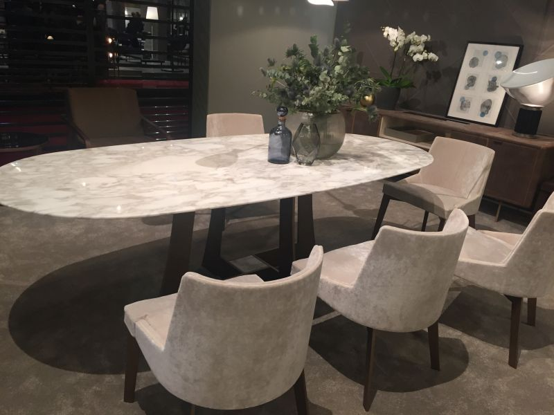Very Beautiful And Practical Narrow Dining Table ... Marble oval dining table design