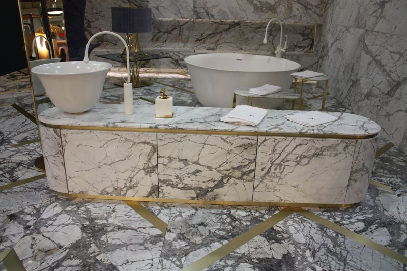 Marble with grey and gold accents