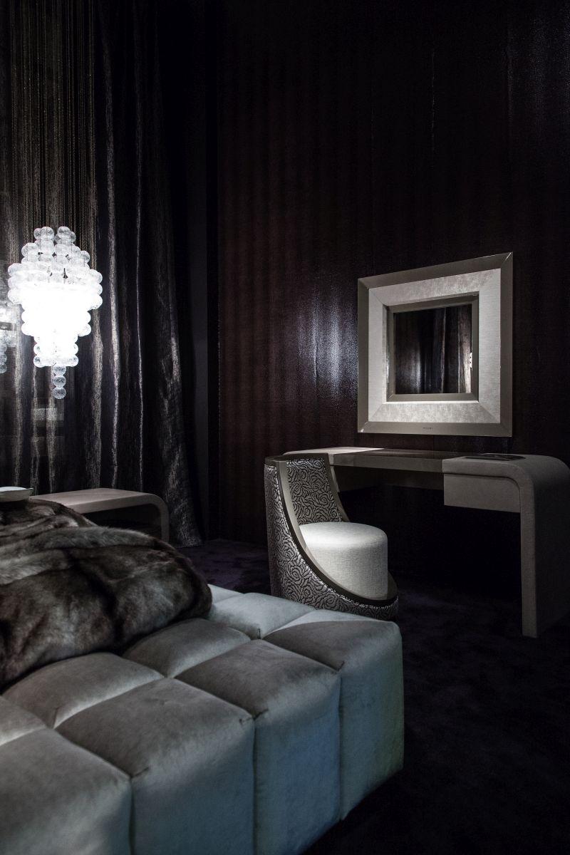 Masculine bedroom design with dark colors
