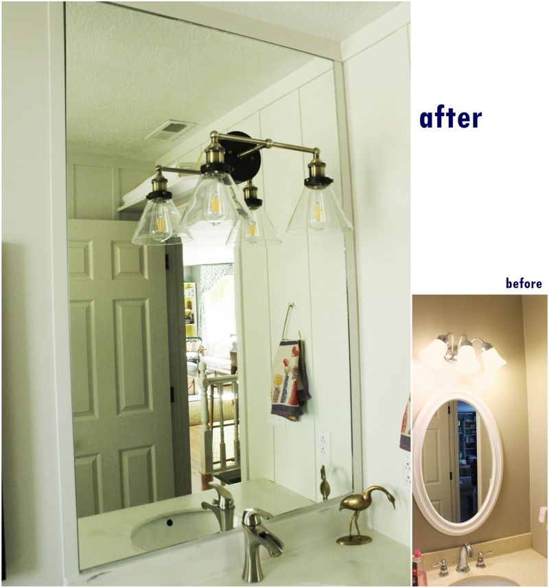 Mirror lighting before and after