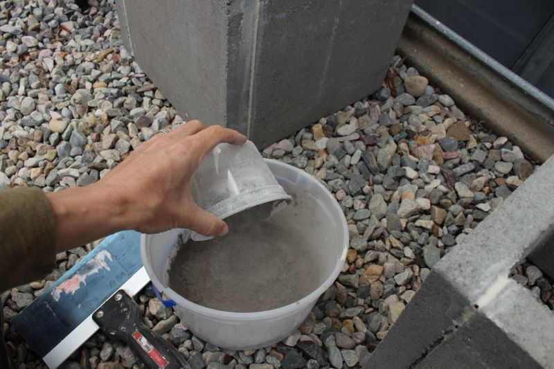 Mixing the concrete first without water