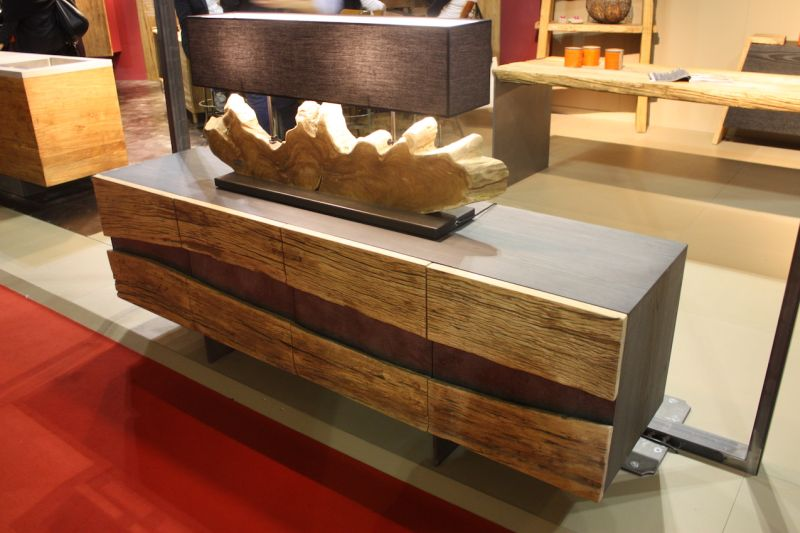 NatureDesign exhibited many freestanding natural wood pieces that can be incorporated into your kitchen, whether you have wood kitchen cabinets or not. This sideboard would be a perfect natural accent from almost any kitchen.