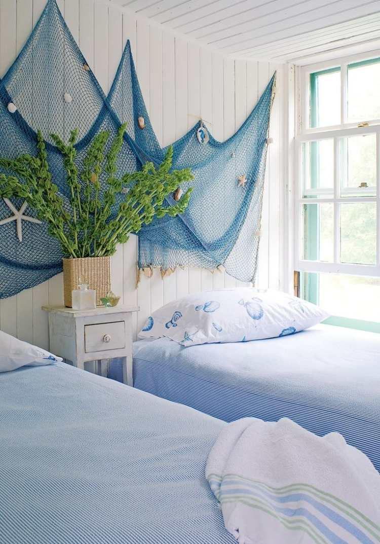 Netting wall hanging. How to Infuse The Ocean Into Your Summer Decor