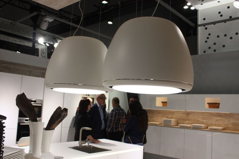 Often, we'd look at a kitchen lighting fixture -- like this one from Nobilia -- and realize there's more to it than meets the eye. Many brands were showing kitchen range hoods with built-in lighting, which makes them look more like a lighting fixture than a vent!