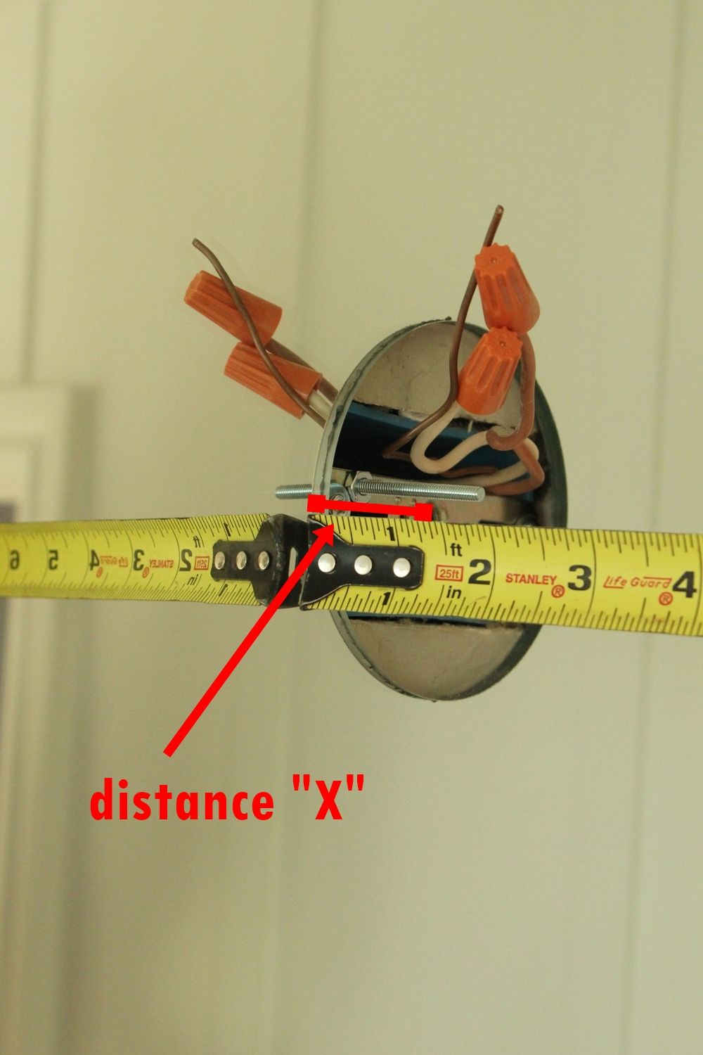 Now measure distance X away