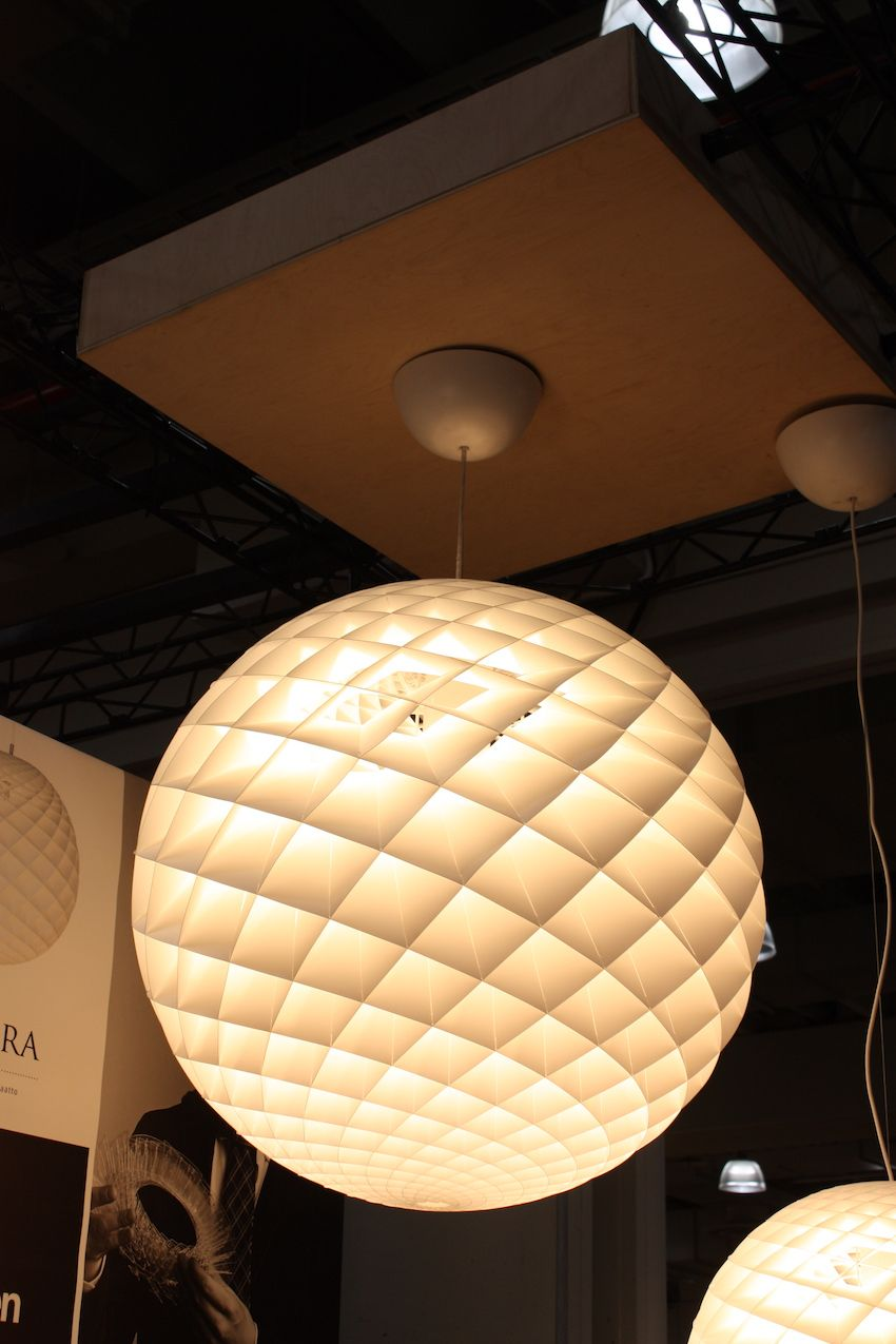 Dramatic in all its; sizes, the Patera pendant from Louis Poulsen is simply gorgeous. It is made of small diamond-shaped cells, which seem to glow. It is made primarily of PVC and polycarbonate.
