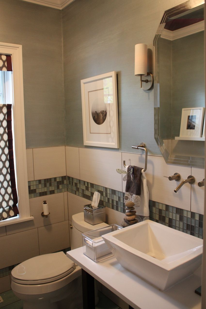 Powder room glass mosaic