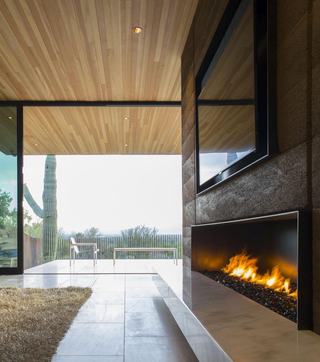 Rammed Earth Modern project fireplace