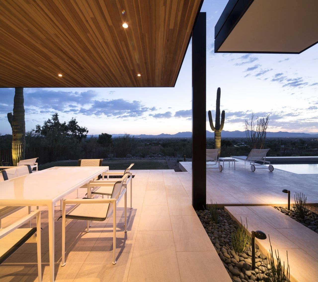 Rammed Earth Modern project porch night