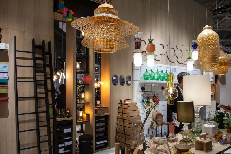 Rattan lighting fixtures hanging