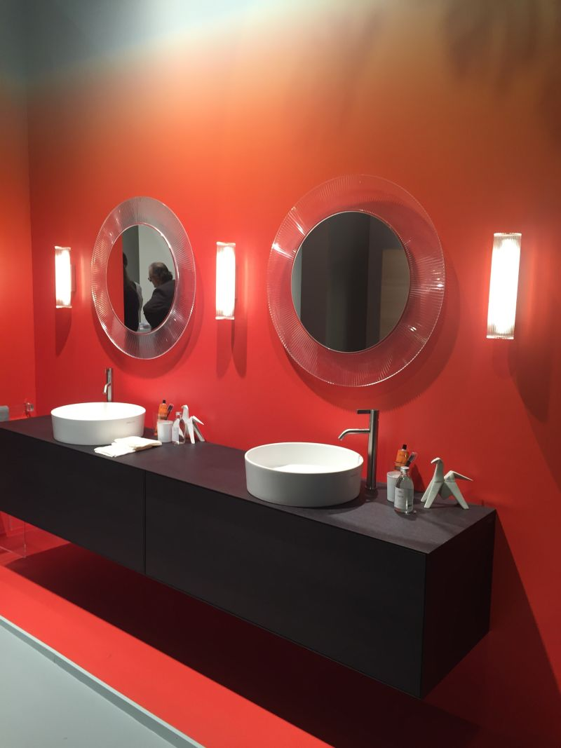 Red Ombre Wall For Bathroom And Double Vanity