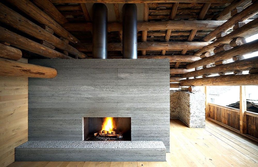 Redevelopment of a Barn in Soglio Fireplace