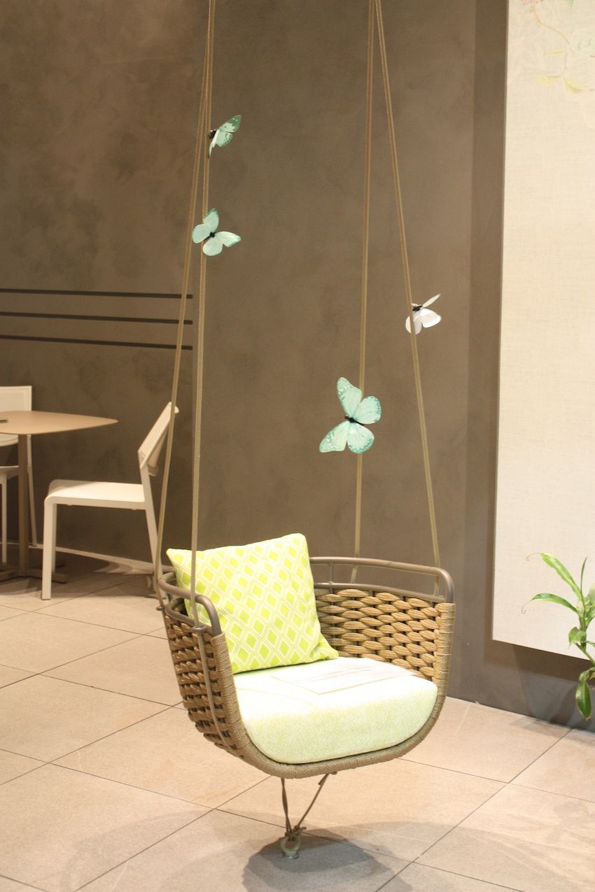 How fun is this swing seat from Roberti? Add a few decorative butterflies and is a lovely accent for a wooded outdoor space.