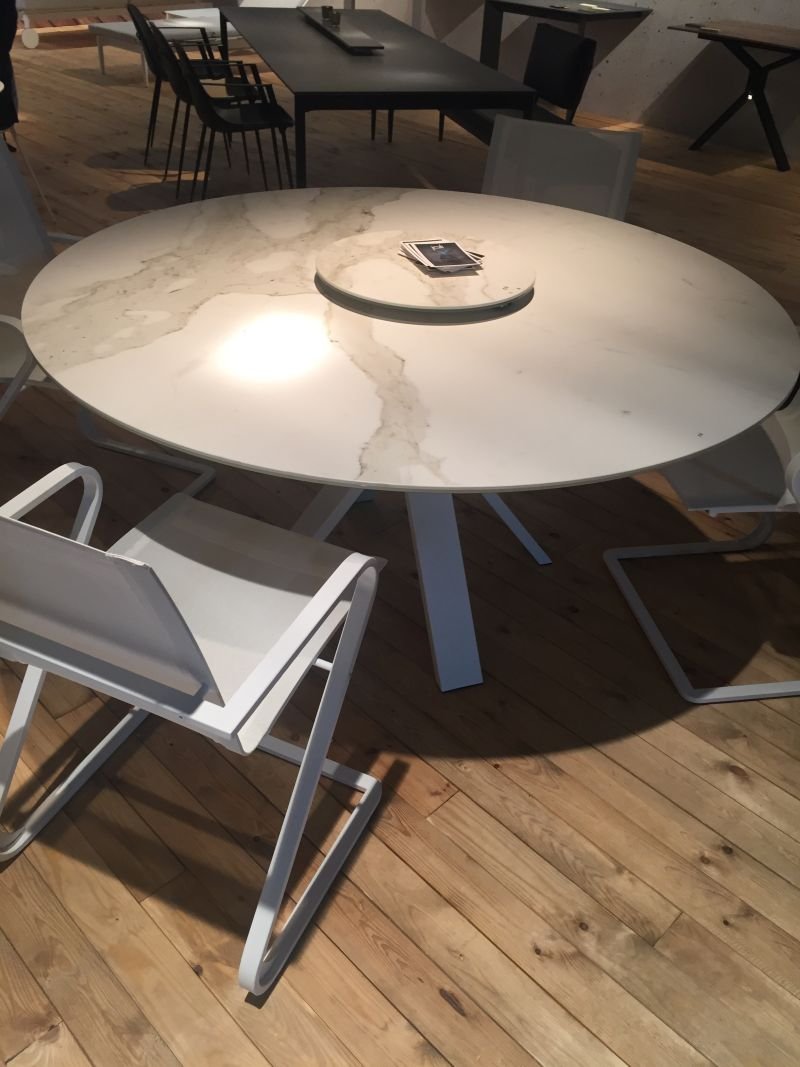 Dining Table Design Round Marble With Lazy Susan On Top