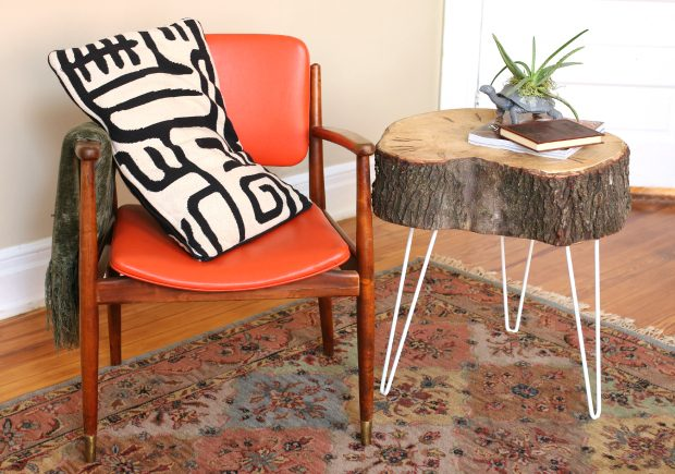 Rustic end table with hairpin legs