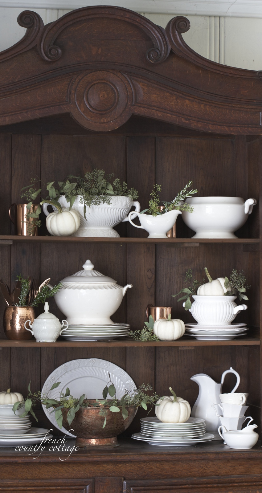 Seasonal decor china cabinet