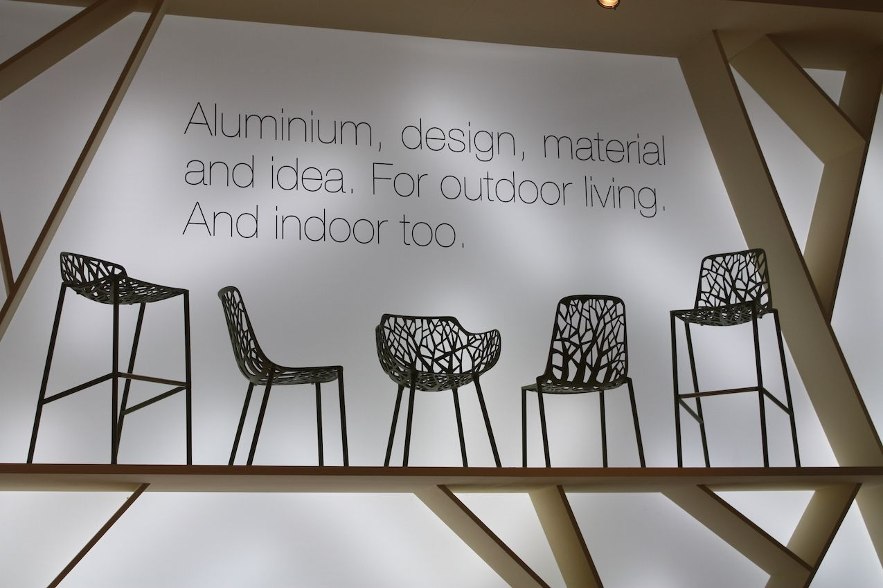 The Forest chair by fastcomes in various heights and styles. The aluminum construction is durable as well as stylish. We particularly like this design for outdoor furniture, mimicking natural trees. These would be a great choice if your surroundings are actually devoid of trees.