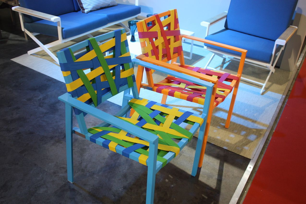 These chairs from Sifas are pure fun because they break construction rules, sporting a wildly woven seat and back. The collection is from Agatha Ruiz De La Prada, a designer known for her unique style, that focuses on fantasy and color.