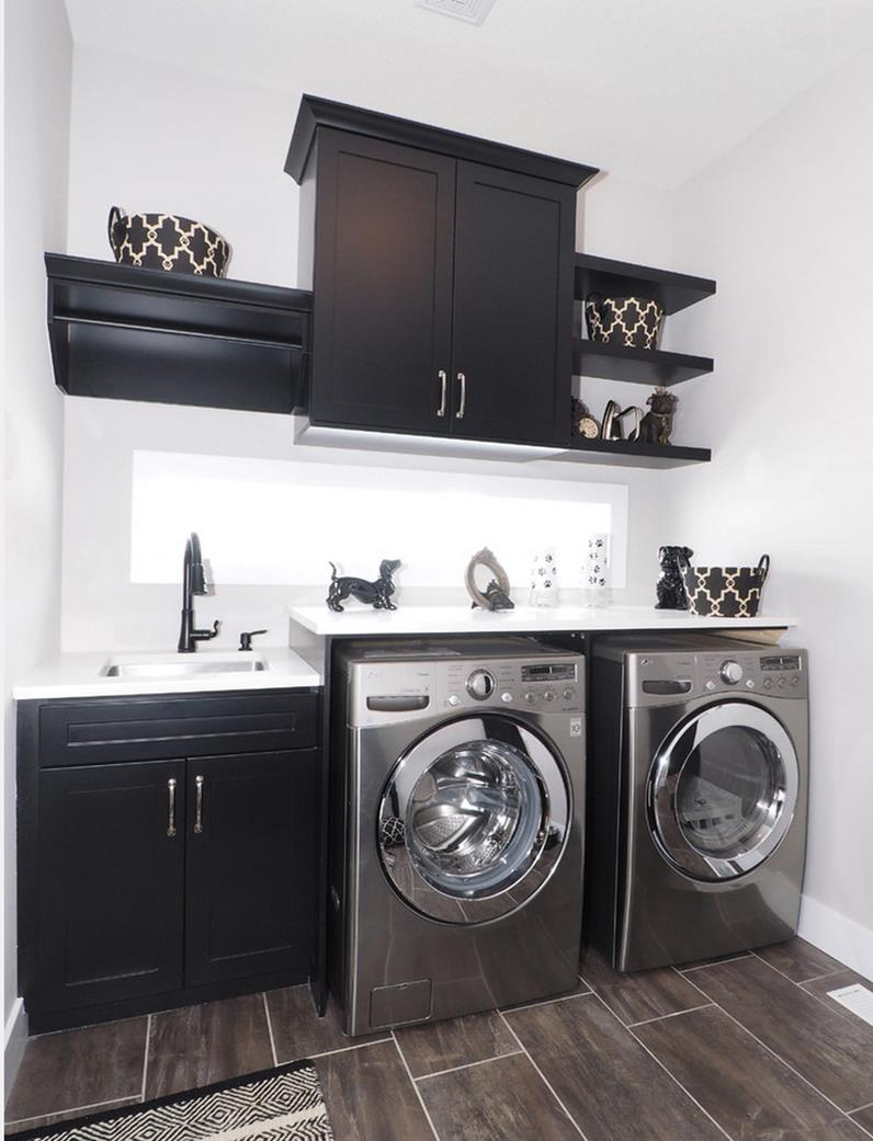 Small and black laundry room design