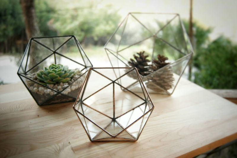 Small geometric glass terrarium