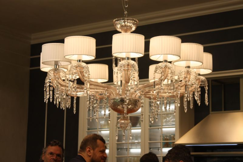 Snaidero's Icone kitchen had the perfect island lighting fixture for traditionalists: A spectacular chandelier with twinkling crystals and dainty little lampshades.