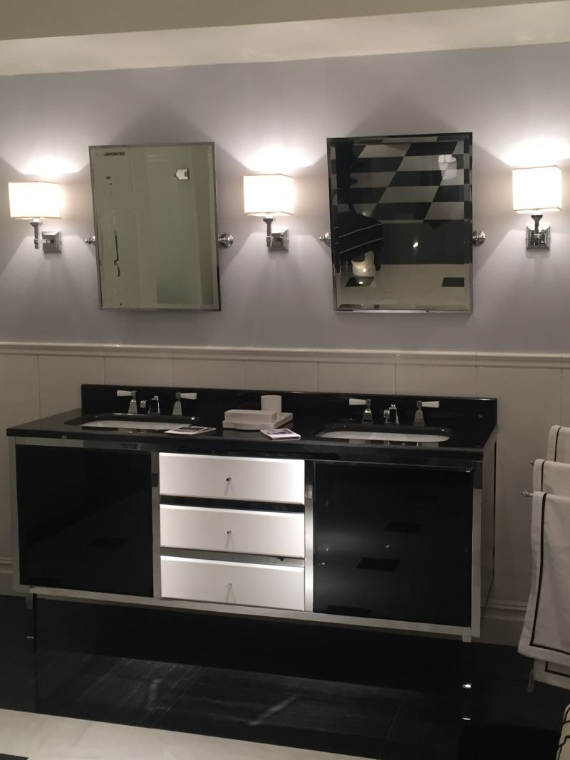 Stainless steel and black for double vanity