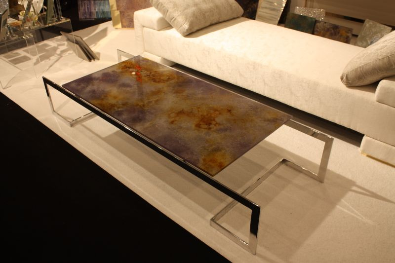 At first we thought it was glass -- it's acrylic! Sublime Design for Luminous Living creates hand painted acrylic (and glass panels) that are dazzling dividers, furniture planets and table tops. We like them because the pieces are as dazzling as glass but lighter more manageable.