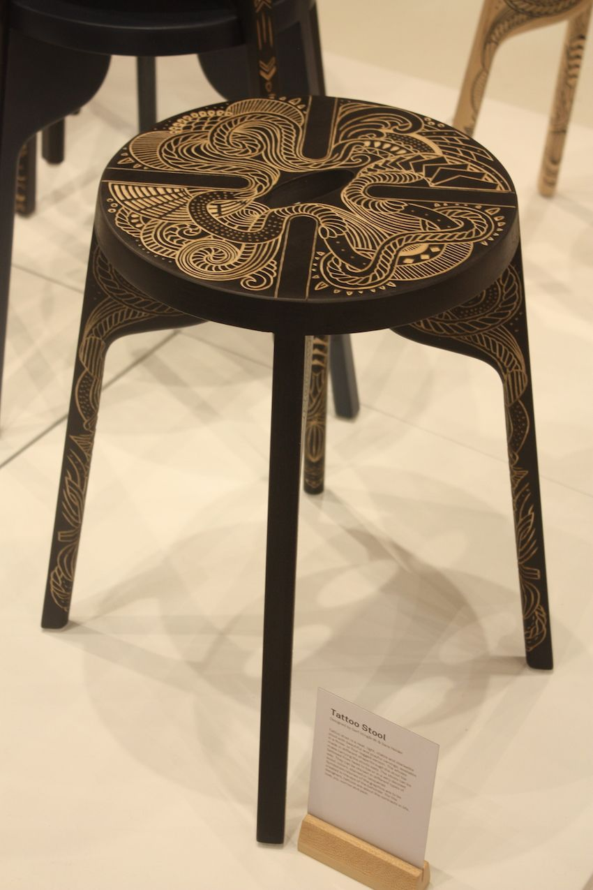 We love the idea of double-duty pieces like a stool that also functions as a side table. Zanat's Tattoo Stool is light and stackable with a whimsical tattoo-like carving. It is available with three or four legs and in a variety of wood colors.