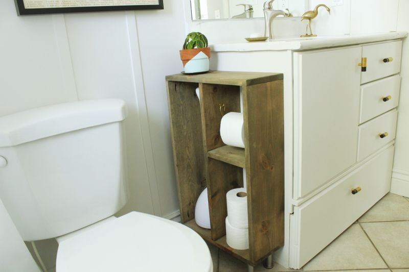 Toilet paper storage closet to vanity