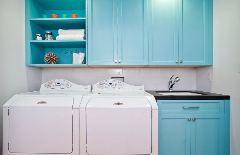 Turquoise washing machine
