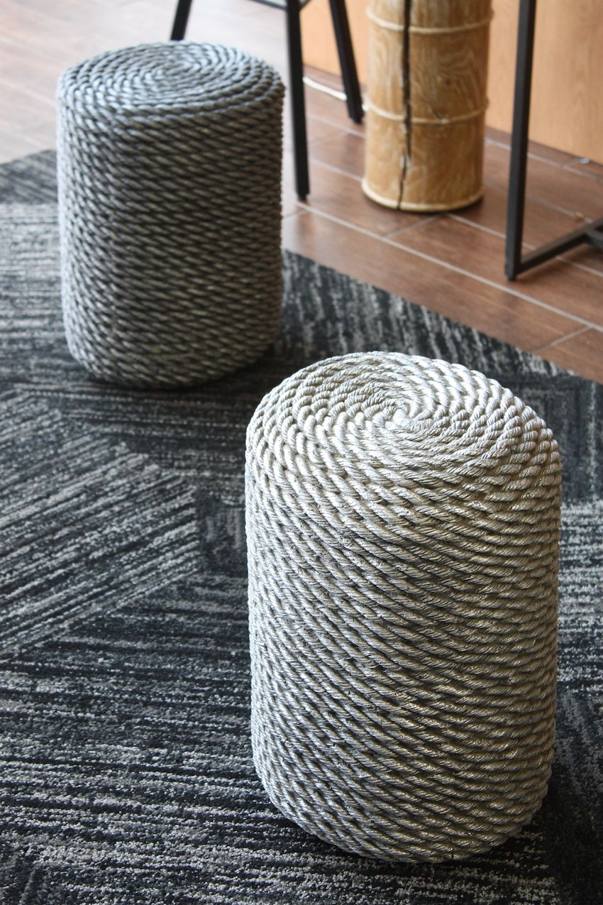 Last year at ICFF, Uhuru debuted its Domino sugar cube stools, and this year they are presenting these cool coiled stools. The sealed and silvered rope creates a versatile stool that is as much decor as furniture.