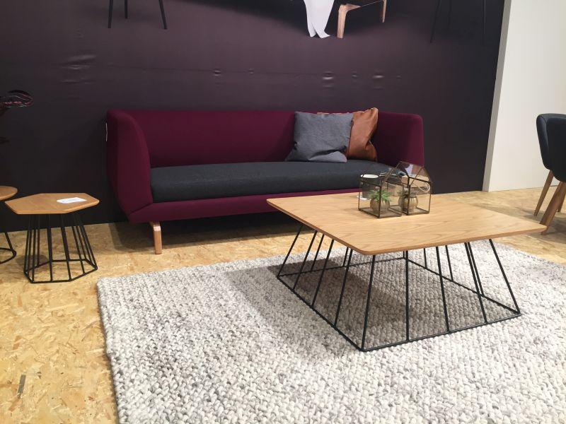 Wire base furniture and purple sofa