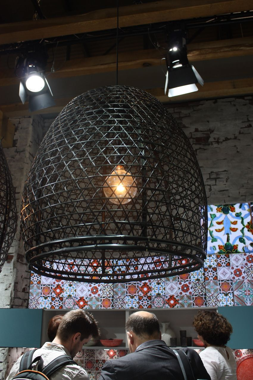 A closer look shows the precisely woven kitchen lighting fixture.
