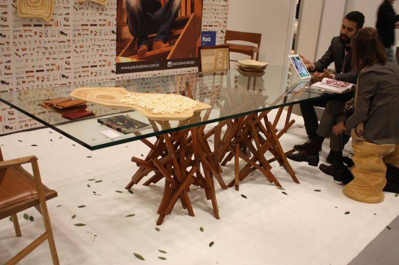 Wood sticks art for a table base