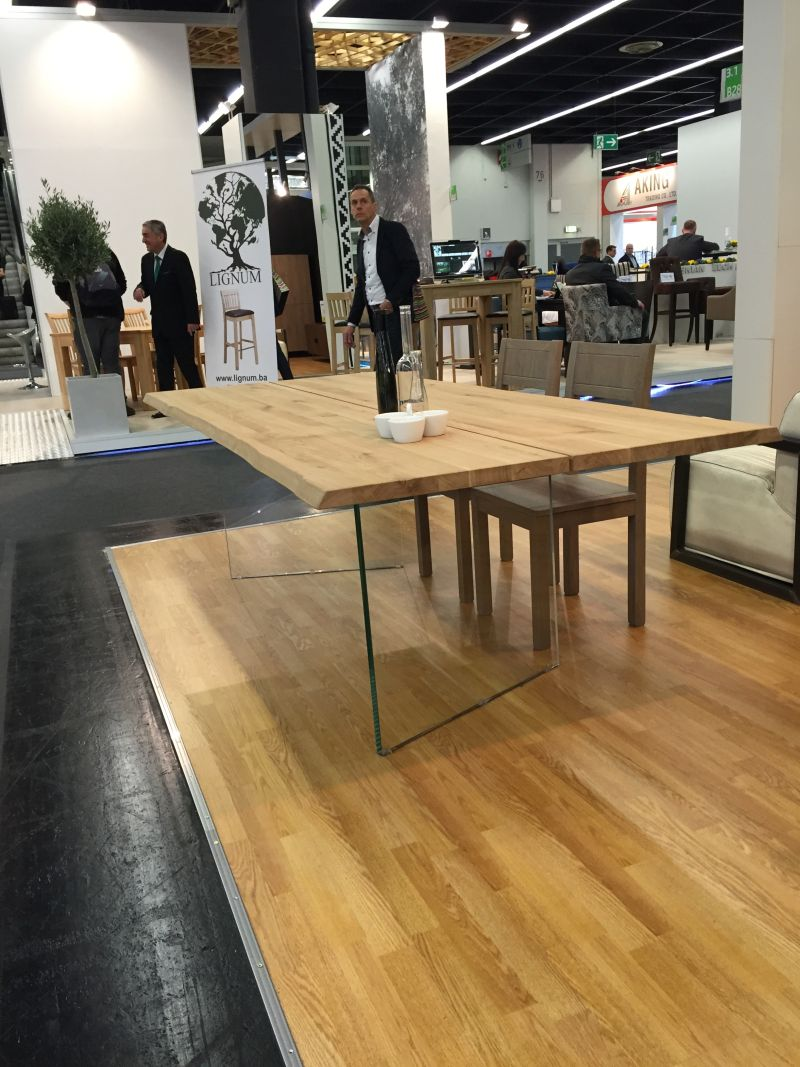 Wood table with glass base