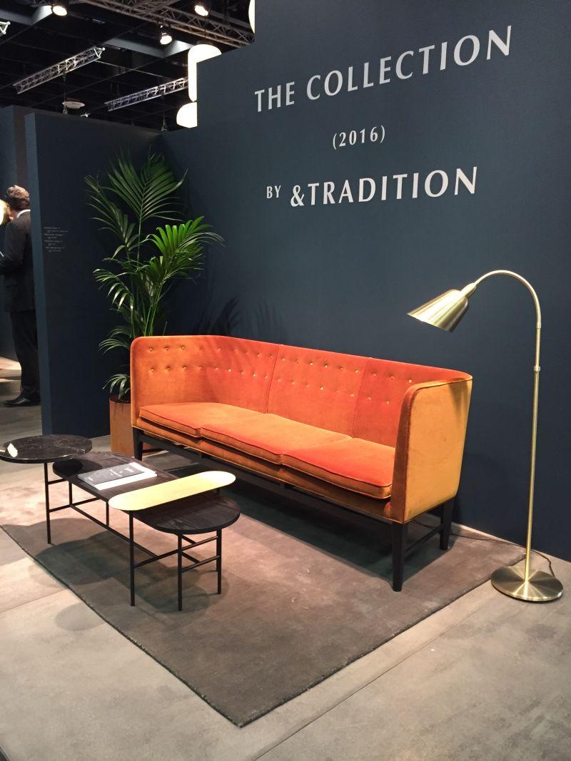 andTradition sofa design in bold color orange