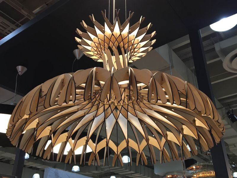 There was so much cool lighting at ICFF that we hardly]y know where to begin. This fantastic chandelier by Bover Barcelona Lights was one of the most shared on social media. The Dome 90 pendant is made of more than 170 wood fragments are intertwined and sewn together one by one.