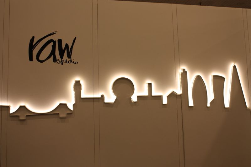 This lighted skyline from Raw Studio draws you in from across the exhibit hall. Stunning in its simplicity, it's a beautiful statement. The UK-based studio also create a unique Luna light, that appears to have texture and looks like the moon.