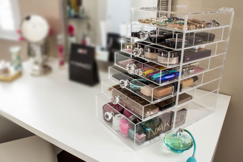 makeup lucite storage
