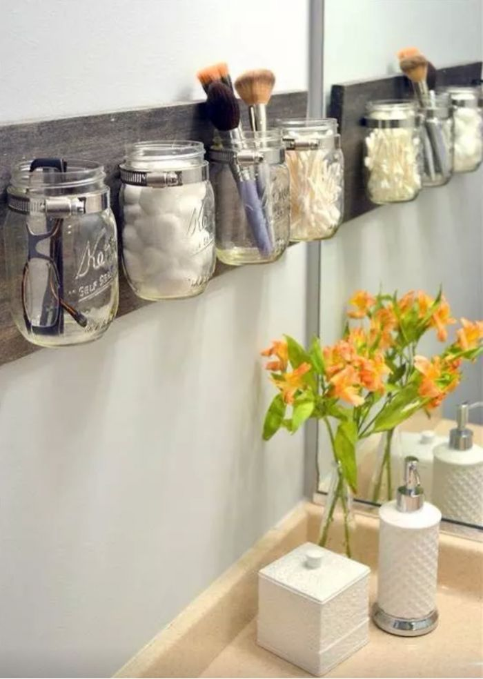 mason jars in bathroom