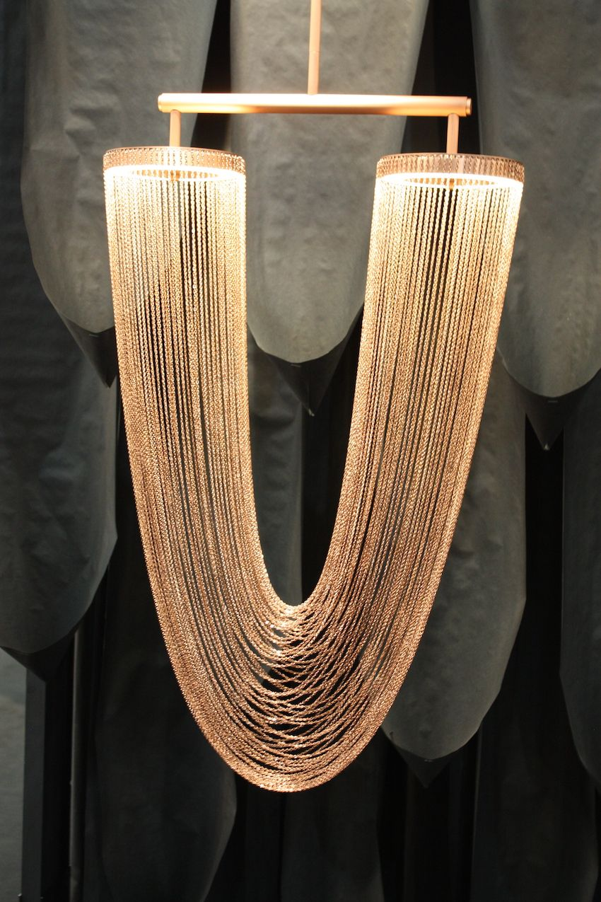 The small Otero by Larose Guyon is simply a sensuously draped collection of copper plated chains, gorgeously it from within the ends. What more can you say about something so beautiful?