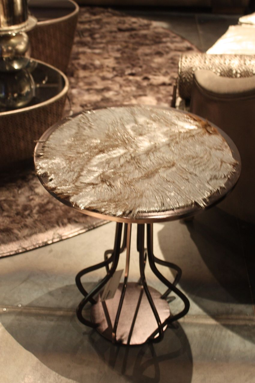 This is really surprising side table from Estetik Decor from Turkey. The fur covered table top is a type of deer hide that is coated with a metallic copper laminate. Truly a statement piece from the company, which has a variety of unique pieces.