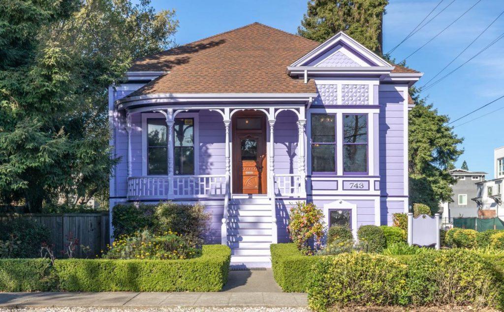 A Lavender Home bold colors home exterior